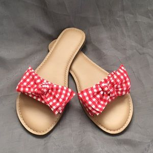 Red Gingham Bow Sandals Sz 9